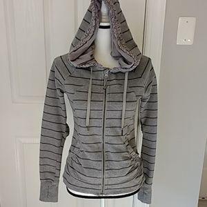 Lululemon Gray Striped RuffleZip Scuba Hoodie 6